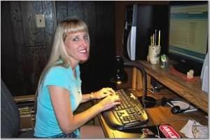 Pamela at my computer